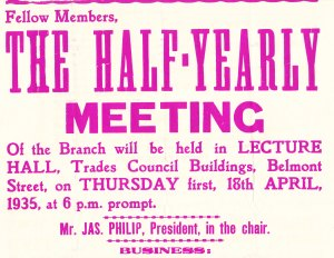 Aberdeen bakers meeting poster 1935