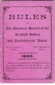 Aberdeen bakers rule book 1920