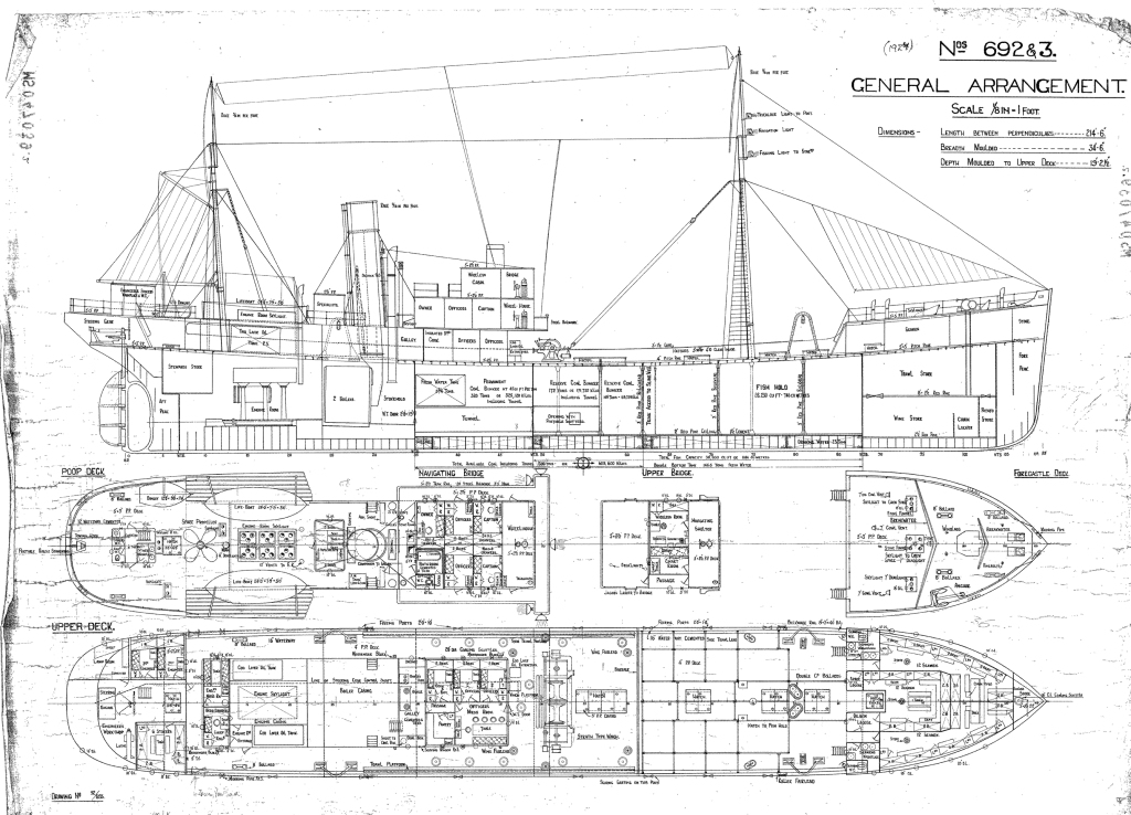 General arrangement trawlers 692-693 courtesy of Aberdeen Art Gallery & Museums Collections