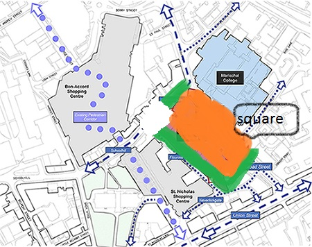 Shops, offices, hotel in green. Marischal Square in orange.