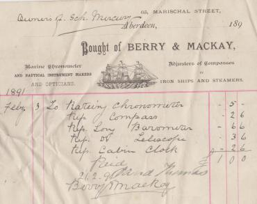 Last Receipt for Work Done, Aberdeen, February 1891