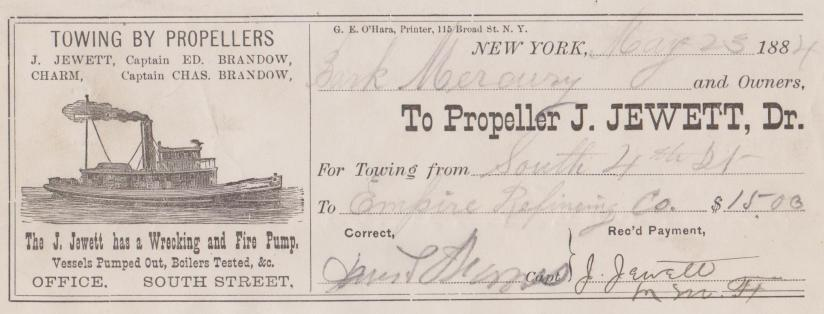 Receipt for Tow New York 1884