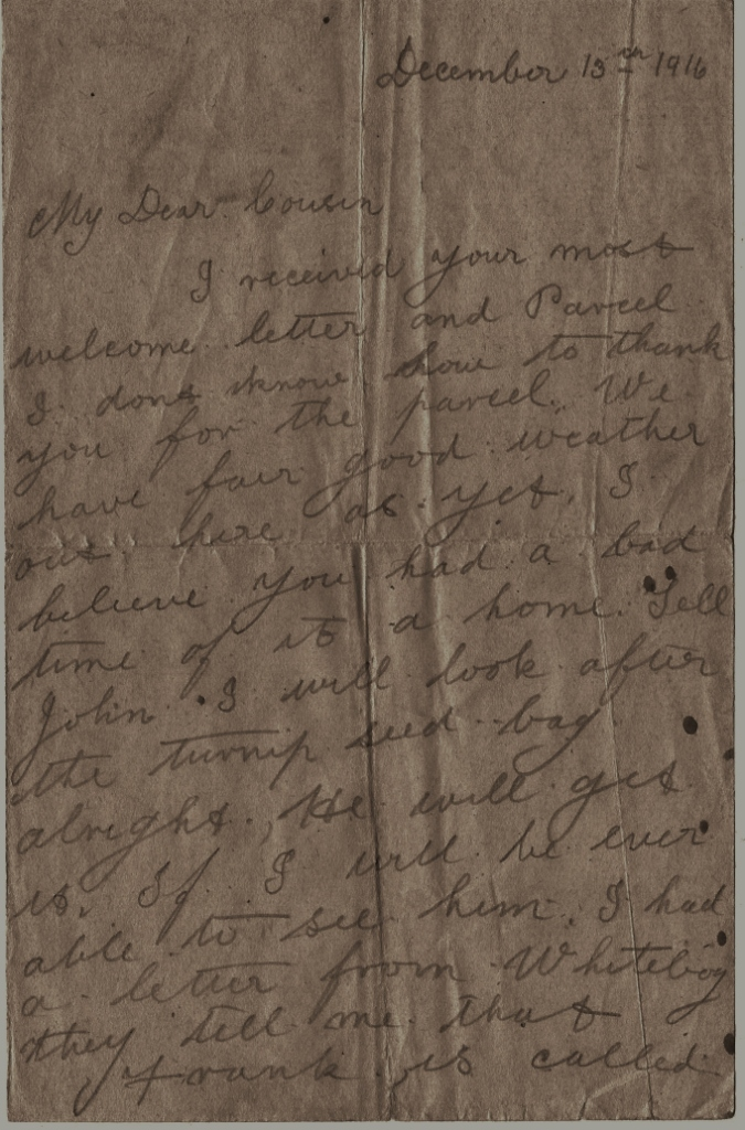 Trenches letter 1916 Highland soldier