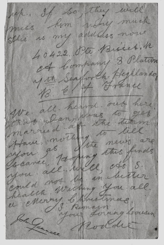 trenches letter 2 1916 Highland soldier