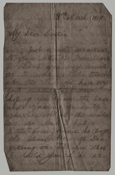trenches letter 3 1917 - Highland soldier