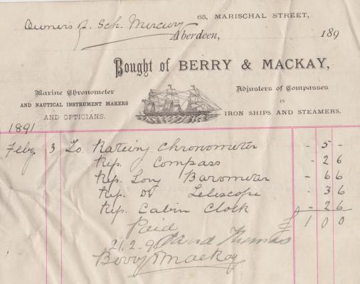 Last Receipt for Work Done, Aberdeen, February 1891