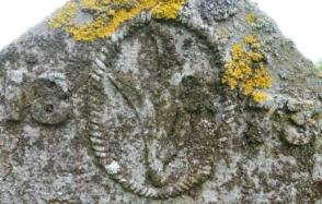 Typical gravestone flower motif carved by a local monumental mason