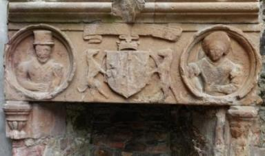 Details of another fireplace with medallion portraits of George Gordon and his wife Henrietta Stewart