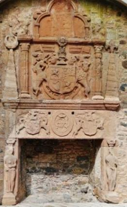 The great fireplace was disfigured by Covenanters who disapproved of its Catholic imagery