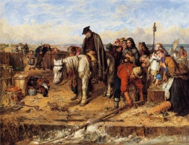 Thomas Faed's painting The Last of the Clan as they await to board an Atlantic-bound ship